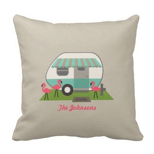 Retro Camper With Flamingos Pillow