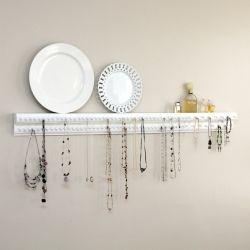 Necklace/Jewelry OrganizerWood Trim, Jewelry Hangers, Jewelry Storage, Diy Necklaces, Necklaces Holders, Necklaces Hangers, Diy Jewelry, Jewelry Organic, Jewelry Holders