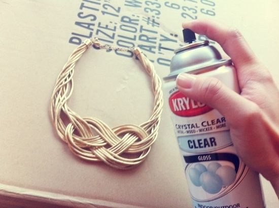 Krylon Crystal Clear Acrylic Gloss Coating protects cheap jewelry...getting some this weekend!
