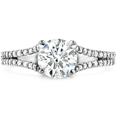 Hearts on Fire's Felicity Split Shank Engagement Ring. Beautiful, Breathtaking, Distinct Explore Hearts on Fire at Miami Lakes Jewelers. #MiamiLakesJewelers #heartsonfire