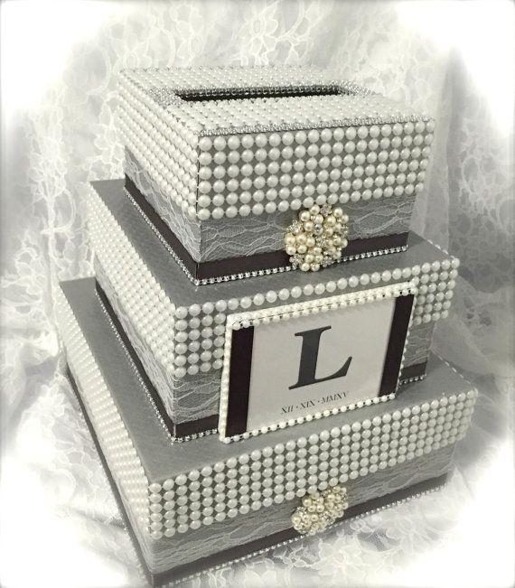 box money holder envelope holder moneybox bling box silver box wedding ...