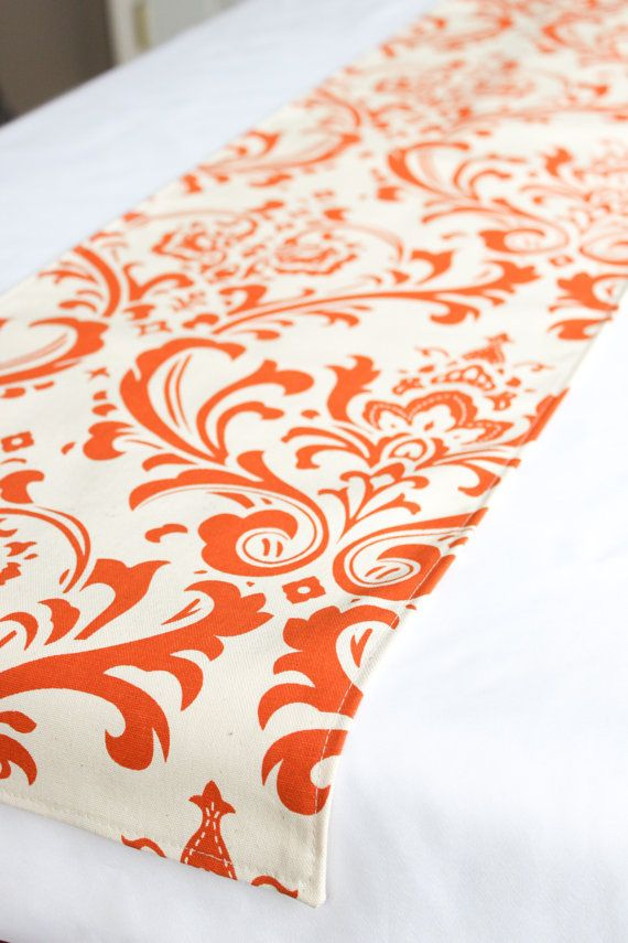 Orange Damask Table Runner, Choose Length, Rustic Table Runner, Outdoor  Wedding Runner,