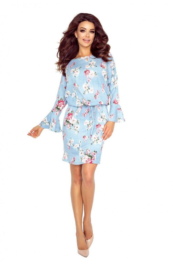 Wygodna Sukienka z Kieszeniami Błękitna w Kwiaty BE80-04