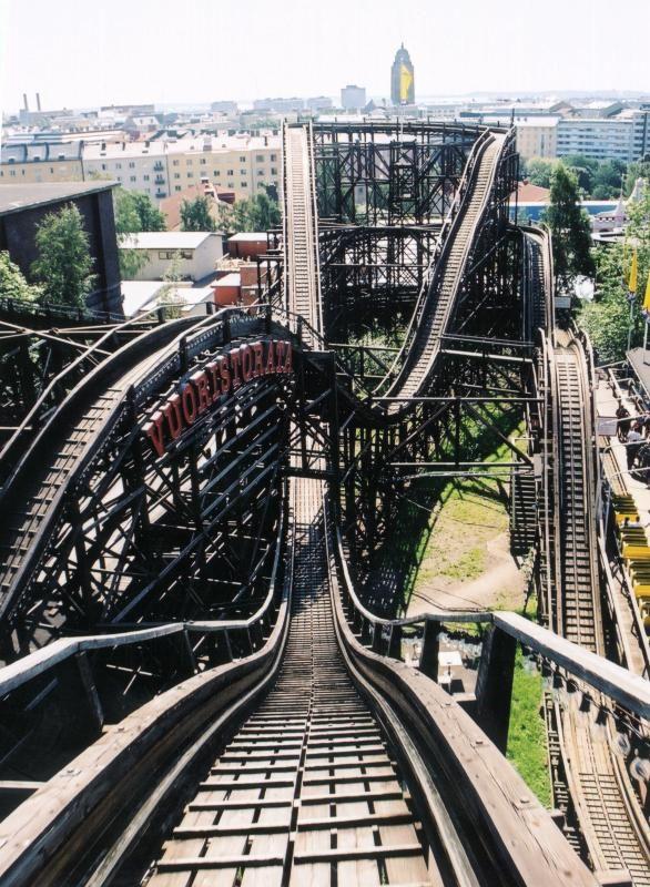 Roller coaster at Linnanmäki amusement park in Helsinki