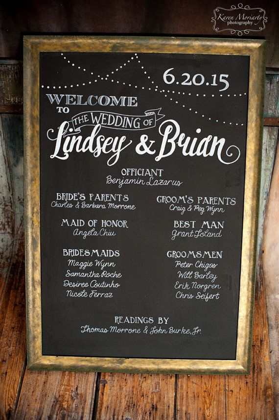 "Market Lights Hand Painted Calligraphy Wedding Program Sign - canvas, wood or wood with frame - 24""x36"" - NOT A PRINT - Personalized"