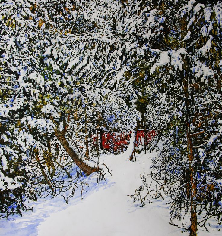 "overnight snowfall 18   40"" x 40""    micheal zarowsky - watercolour on arches paper / available $3500.00"