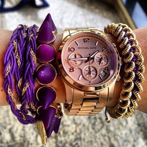 Love it: Arm Candy, Style, Bracelets, Color, Purple Rose, Gold Watches, Michael Kors Watches, Accessories, Arm Parties