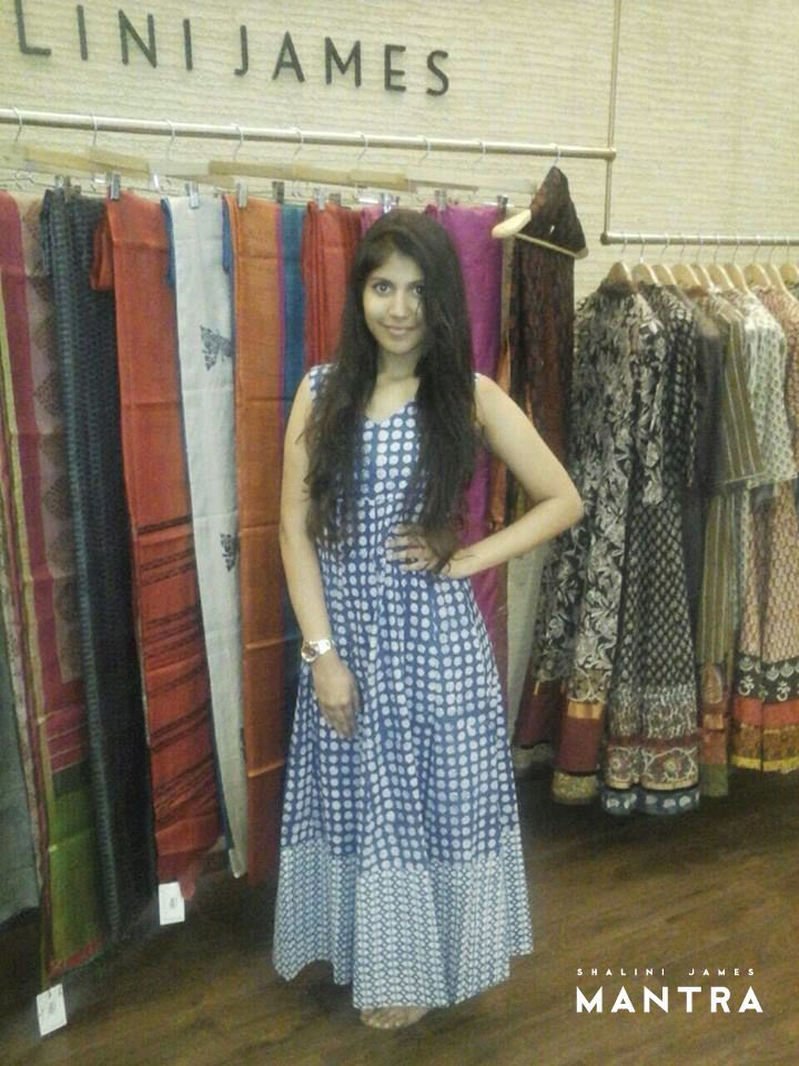 We bring to you with much pride our first customer to purchase this chic, block-printed, indigo maxi dress from our store in Lulu mall! This pretty lady is Megha from Kozhikode and isn't she pulling this look off very well? Thank you Megha!