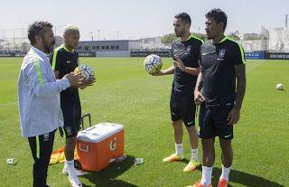 Blog Esportivo do Suíço:  Neymar, Renato Augusto e Paulinho iniciam treinos para eliminatórias