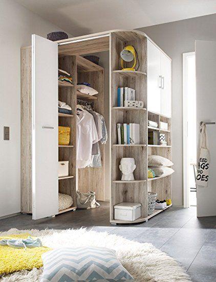 cabina armadio spaziosa ad angolo in laminato di quercia sabbia