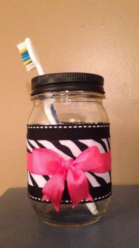 Hot Pink & Zebra Striped Mason Jar Tooth Brush Holder