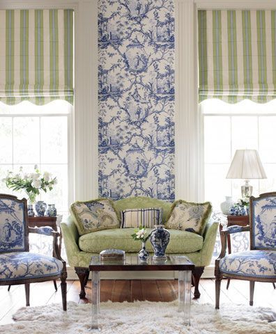 Lovely blend of blues & greens - The blue toile mural is quite the statement!
