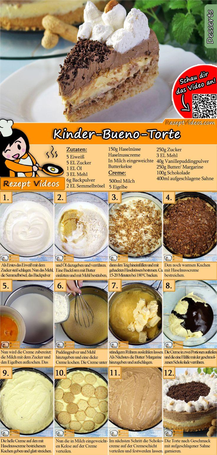 Wie wäre es mit einem Bueno-Kuchen für Kinder? Das Bueno-Kuchen-Rezept-Video für Kinder …   – DESSERT Rezepte mit Videos, mit Rezeptkarten