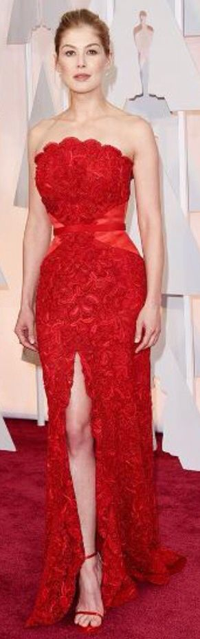 Lovely red evening gown.