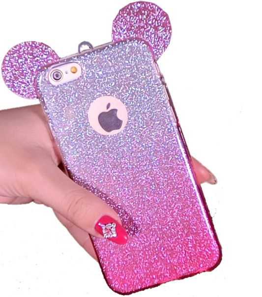 3D Mouse Ears iphone 7 TPU Glitter Gradient Case For IPhone 6 6S Plus 5 5S Case Cover With Hang Rope Phone Cover Cases