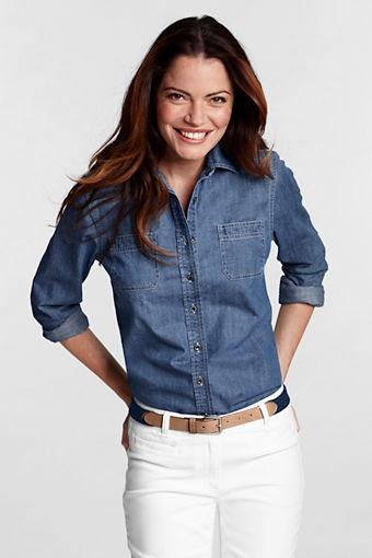 This might be it!  Women's Long Sleeve Denim Shirt from #LandsEnd $40: Country Send, Women Regular, Lands End, Regular Long, Denim Shirts, Land End, Woman Clothing, Long Sleeve Denim, Women Long