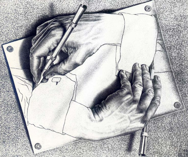 Drawing Hands is a lithography by M.C. Escher which dates back to the year 1948.