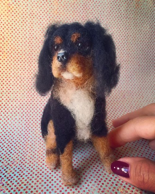 Mini Needlefelted Dog by Facci Designs