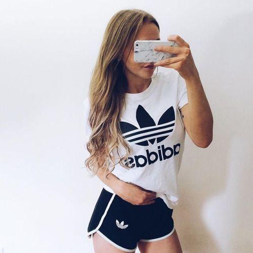#outfit #adidas #black #white #blackandwhite #hair…