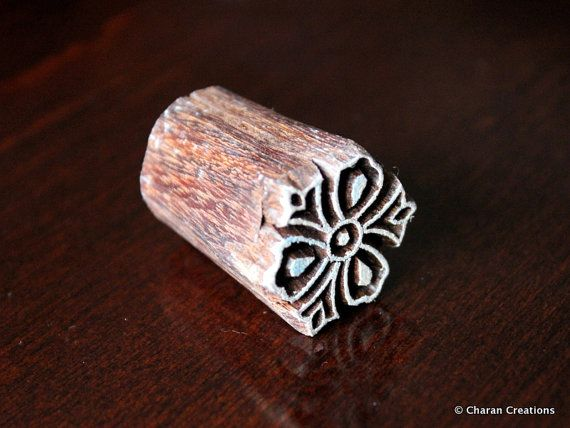 Soap stamp, ceramic stamp, textile stamp, Indian wooden stamp, Tjaps-Tiny stylized flower   – Printmaking