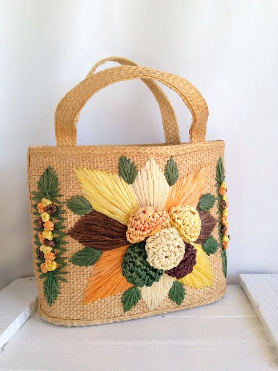 Vintage woven straw purse mexican yarn embroidered boho