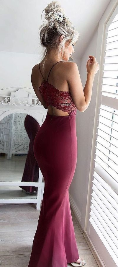 Gorgeous Burgundy Prom Dress,See Through Back Evening Dress, Lace Mermaid Prom Dress,Long Prom Dresses