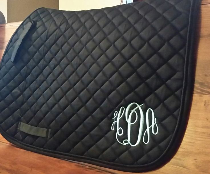 Black Quilted English Saddle Pad - Tough 1 -Personalized/Monogrammed