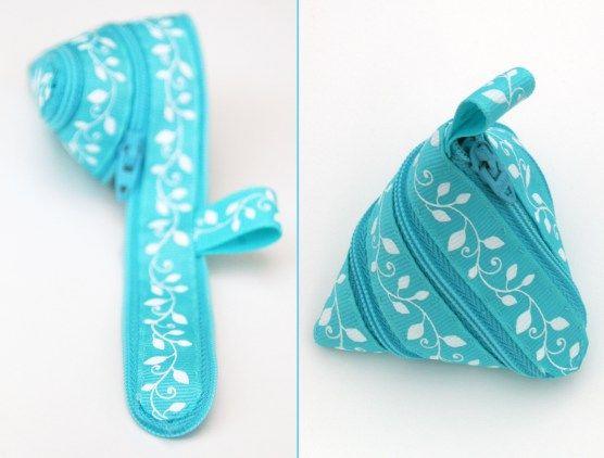 aqua zip up pouch