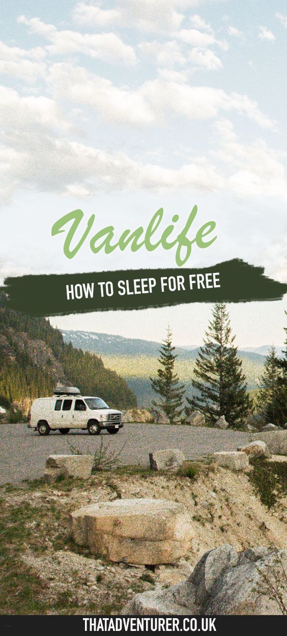 How to find places to sleep for free when you're living in a van an RV or a campervan. It's easy to find places to sleep for free from Walmart parking lots to National Forests and stealth camping see the full list her.e #vanlife #vanlifediaries #vanlifemovement