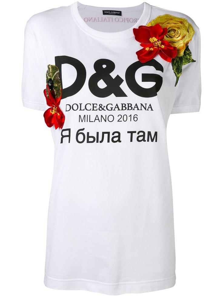 Dolce & Gabbana футболка с цветами и логотипом