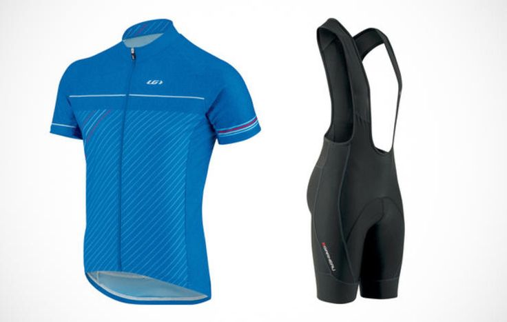 Louis Garneau Equipe GT Series Jersey in 9S8 and Neo Power Motion Bib in Curacao Blue