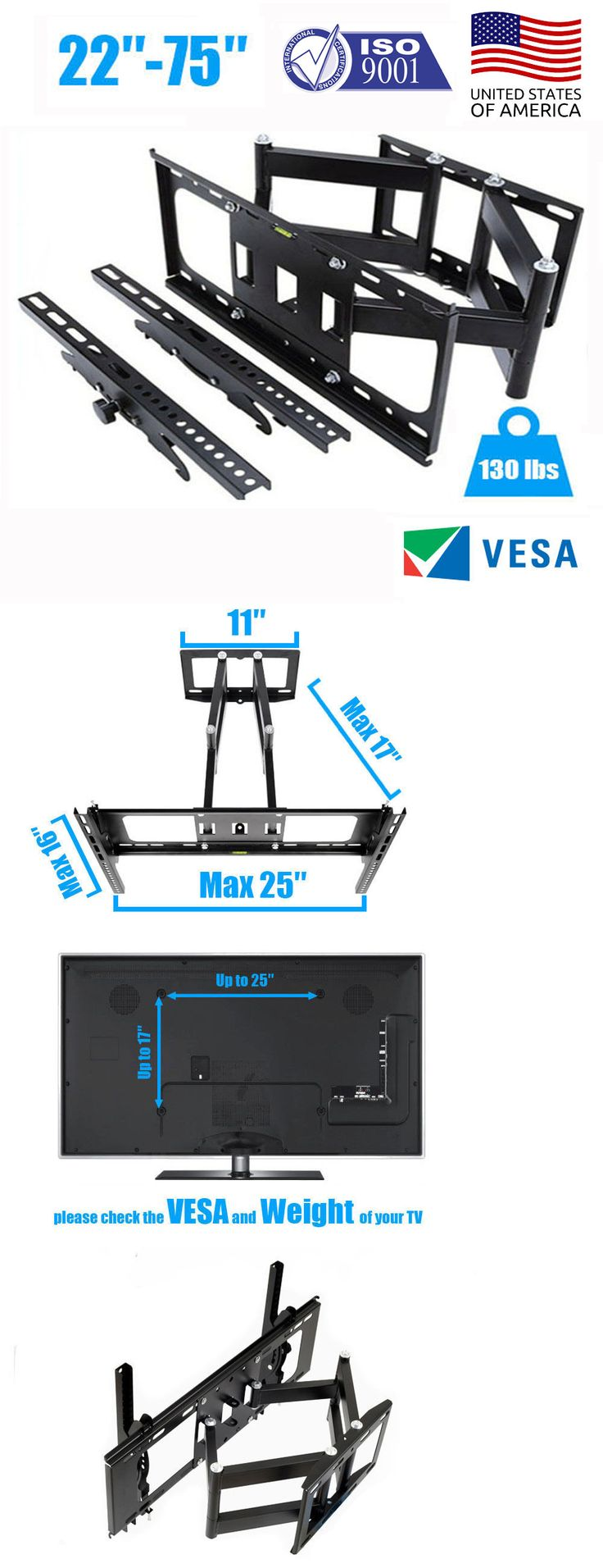 TV Mounts and Brackets: Flat Panel Tv Wall Mount Full Motion Tilt Swivel Samsung Lg Vizio Sony 22 75 -> BUY IT NOW ONLY: $37.99 on eBay!