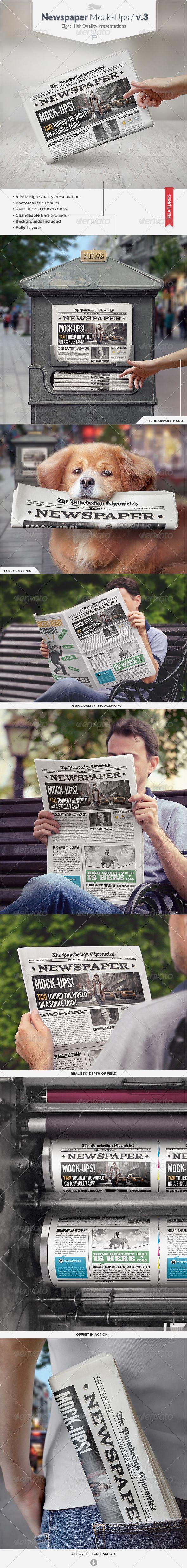 Newspaper Mock-Ups #design Download: http://graphicriver.net/item/newspaper-mockups-v3/7897076?ref=ksioks