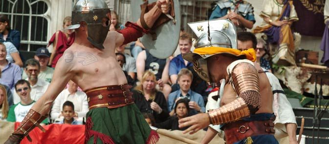 Travel in time - gladiator games are re-enacted in London's only Roman amphitheatre. >> http://www.cityoflondon.gov.uk/things-to-do/visit-the-city/whats-on/Pages/gladiator-games.aspx
