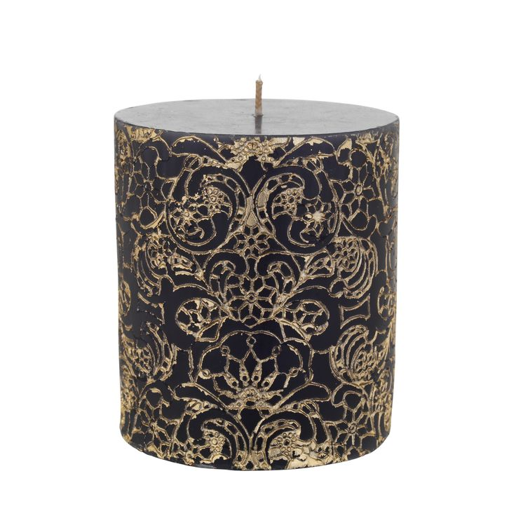 This striking pillar candle will bring an ambient glow to your home when lit, while the gold pattern makes it a statement piece when not. Priced at £5