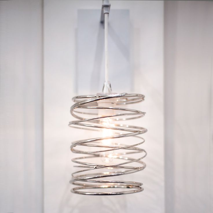 SPIRAL NEST Sconce | Nickel plated with white cord #ICFF15 #ridgelystudioworks #lighting
