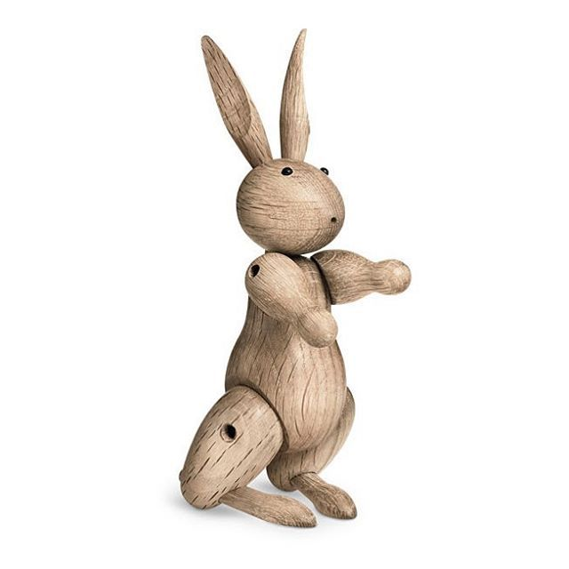 #KayBojesen created many loveable #heirlooms and #toys over his lifetime. Featuring movable legs, the #oak #rabbit has many playful poses and expressions. The rabbit hopped off #Bojesen's woodworking table in #1957, and was the last toy he designed before his death in 1958.  #Danish manufacturer @rosendahlcph have reintroduced the rabbit with permission from his family in 2011.