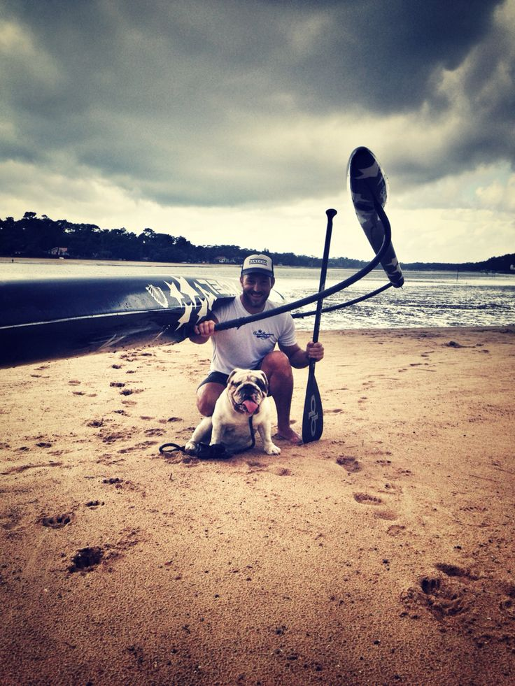 Rocky #English #bulldog #Lac #Hossegor - France #paddle #outrigger