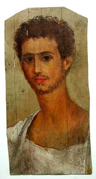 Painted wooden mummy portrait of an aristocratic young man. Roman Period. 175-200 A.D. | The Barakat Gallery