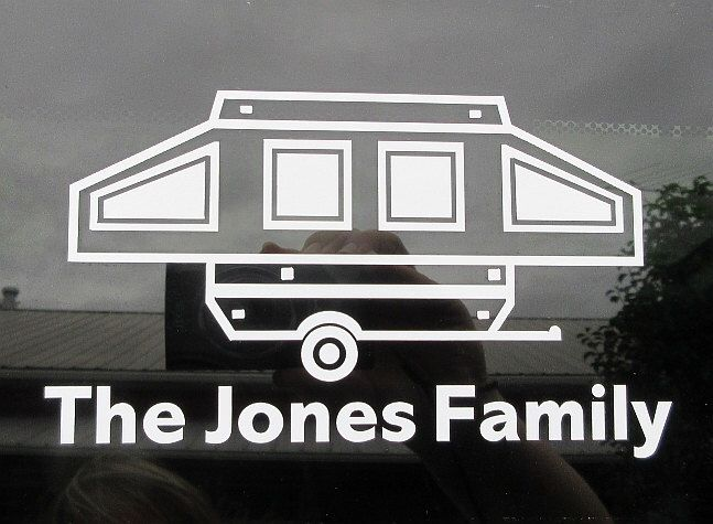 Personalized Pop Up Trailer Vinyl Car Window Decal