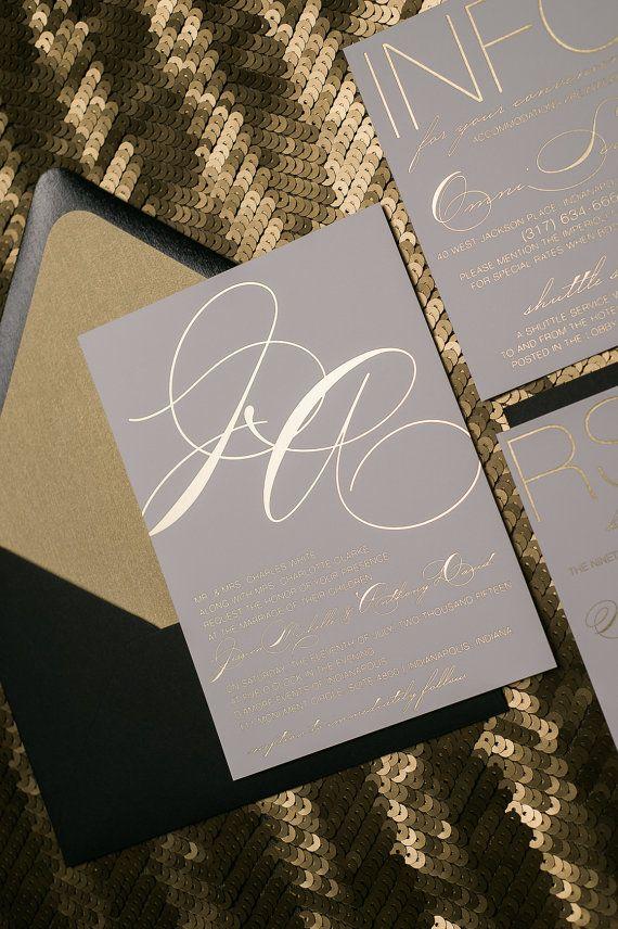 Invitaciones de boda romántica oro y negro de la por JustInviteMe