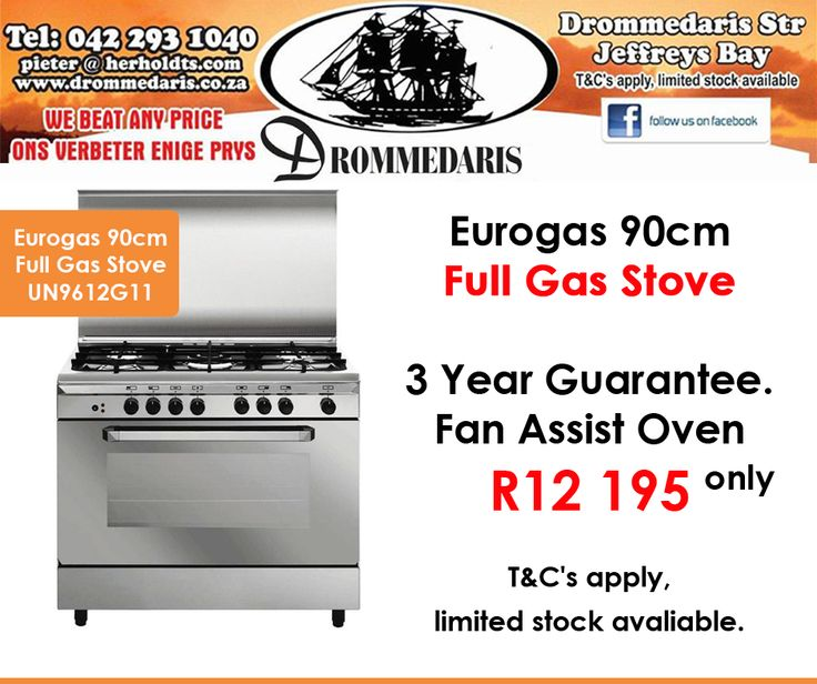 Beat loadshedding with an #Eurogas 90cm Full Gas Stove with a 3 year guarantee from #Drommedaris for only R12 195! Offer valid while stocks last, E&OE. Click on the link to view all our specials: http://apost.link/32q. #specials #loadshedding #gasstoves