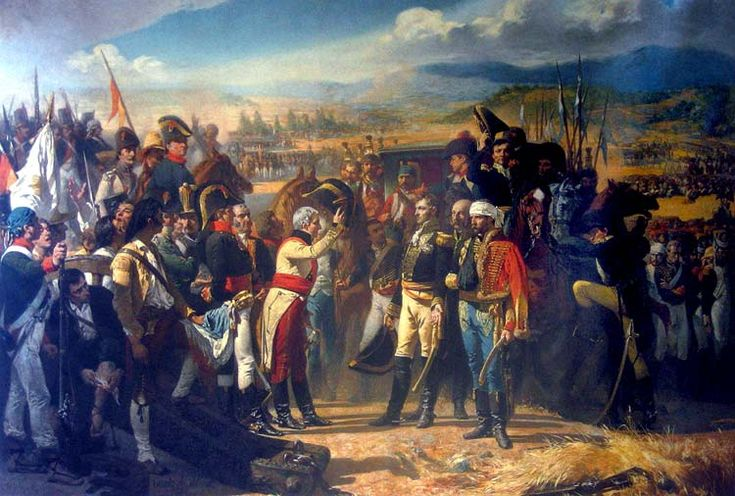 La Rendición de Bailén José Casado del Alisal (1832-1886) ~ The two sides of a battle have come together and the soldier in the white coat is proposing an idea to settle their differences.
