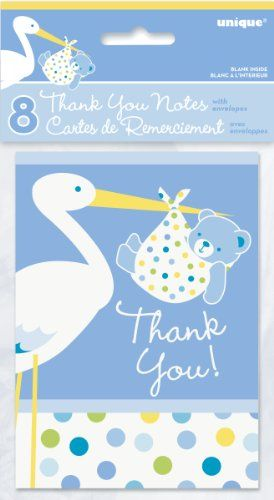 Blue Stork Boy Baby Shower Thank You Note Cards 8ct -- Check this awesome product by going to the link at the image.