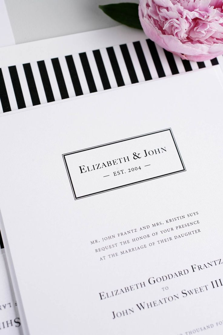 Nice Black + White Striped Monogram Wedding Invitations