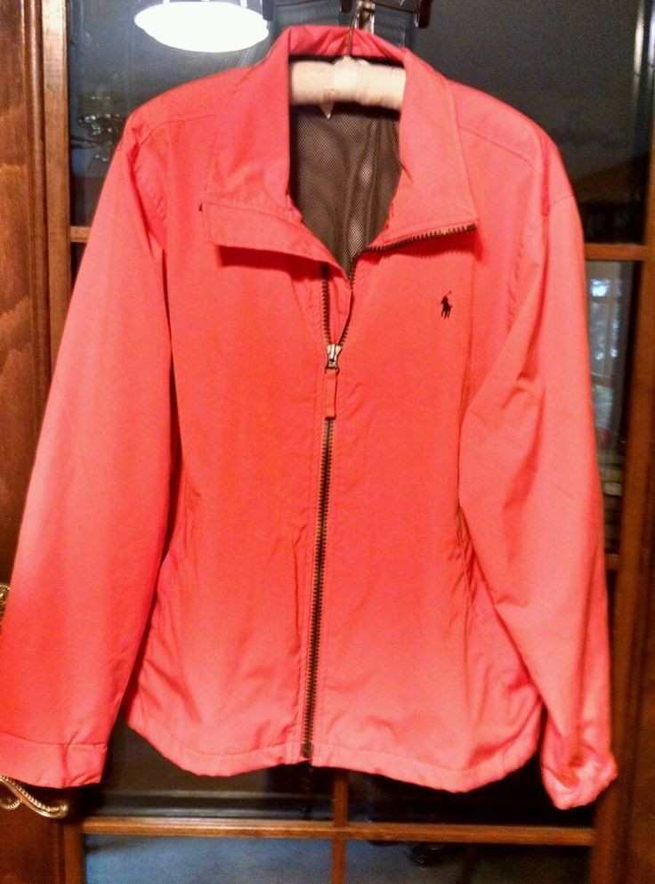 Polo Ralph Luaren Men's Jacket Coat Orange Large Lined #PoloRalphLauren #BasicJacket