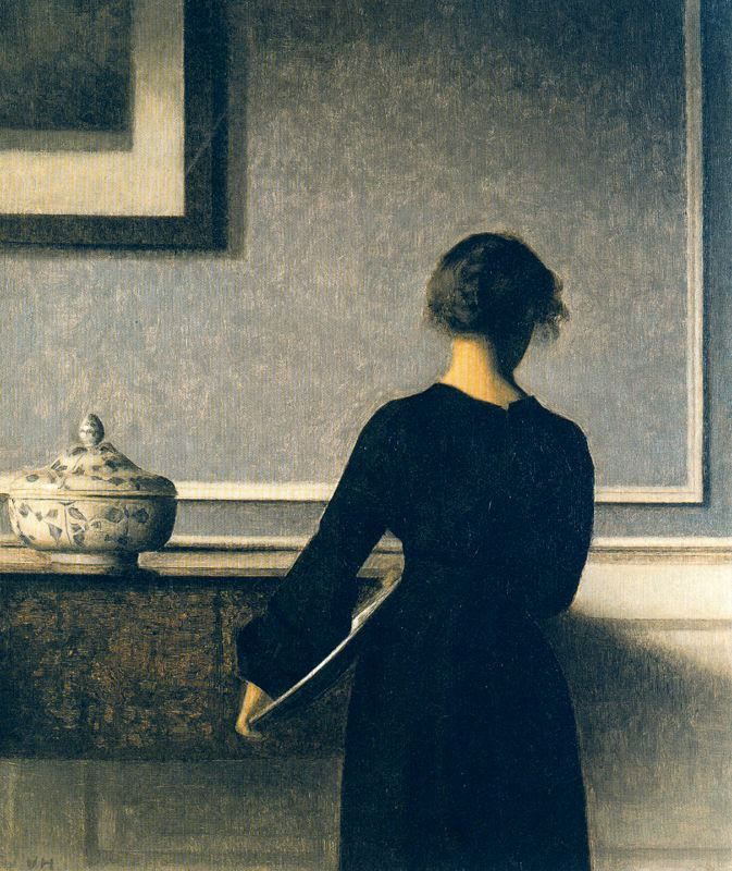 Mujer joven vista de espaldas (1904) Vilhelm Hammershoi