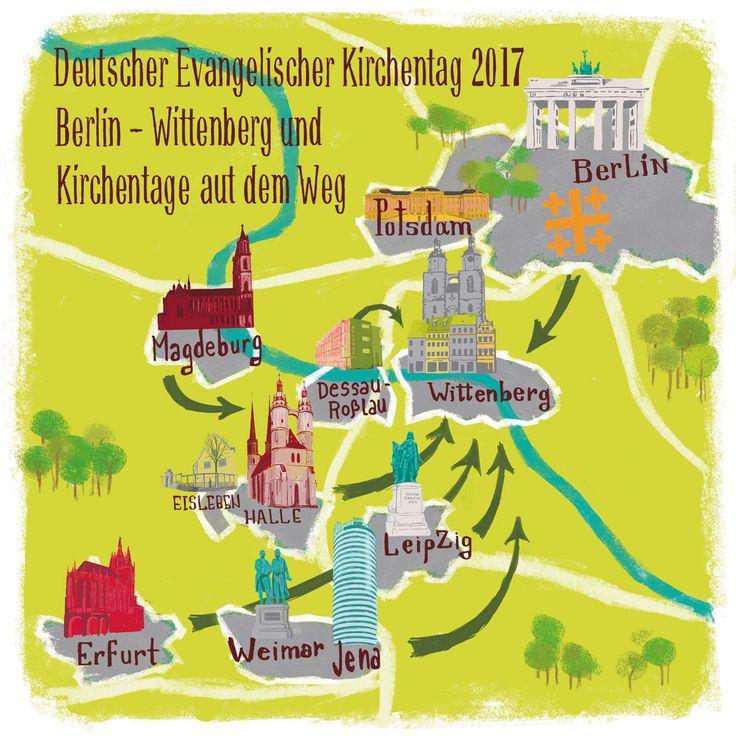 Stilisierte Karte der Kirchentage auf dem Weg und des 36. #DEKT 2017 | #r2017 #kirchentag #dekt17