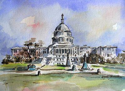 LAURA CLIMENT Washington. Capitolio. Watercolor. Acuarela.
