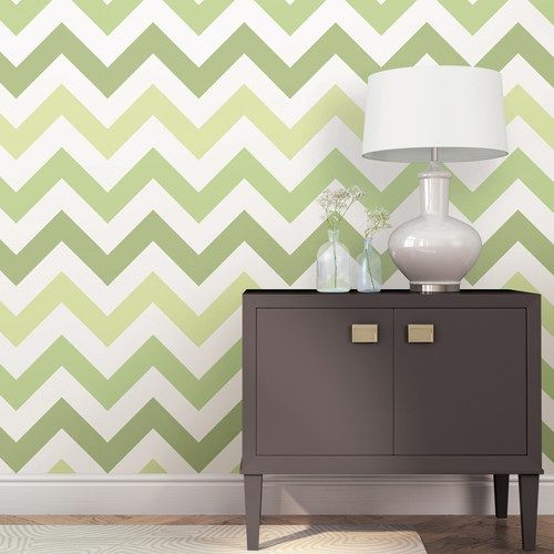 "Zig Zag Green Peel and Stick Wallpaper Single Roll. NUWallpaper by Brewster Removable, doesn't damage walls. $44.95 20.5"" x 18' long"